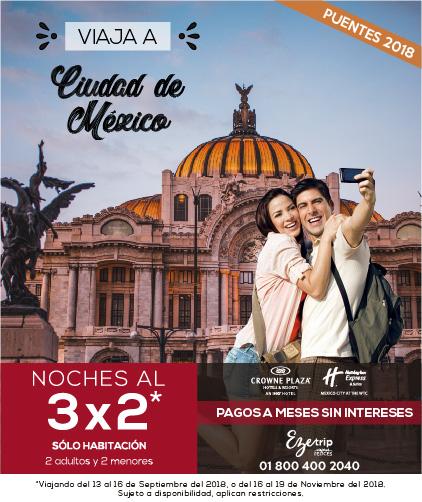 VIAJA A CIUDAD DE MÉXICO 3X2 HOTEL CROWNE PLAZA Y HOLIDAY EXPRESS WTC