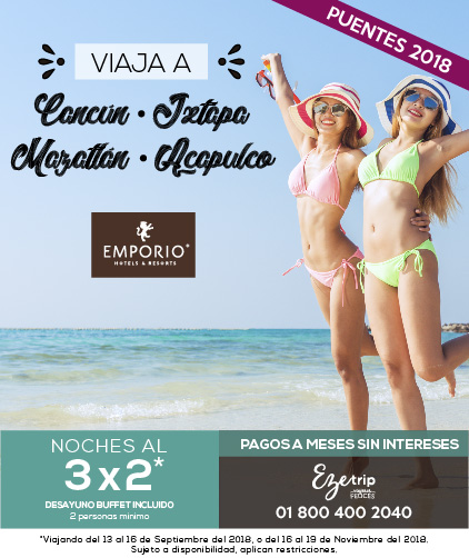 VIAJA A CANCÚN, IXTAPA, ACAPULCO Y MAZATLÁN 3X2 HOTELES EMPORIO