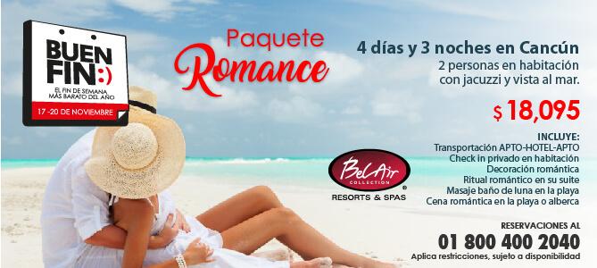 Paquete Romance 4 días y 3 noches en Cancún